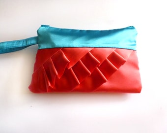 Turquoise and Coral Diagonal Ruffled Wristlet