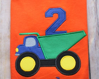 Custom Personalized Boys Dump Truck Birthday T shirt You Pick T Shirt Color Gift Photo Prop