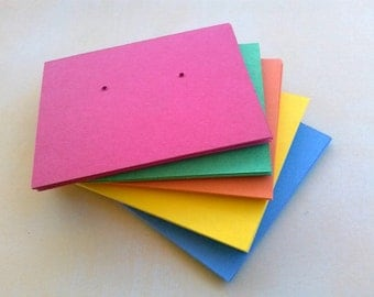 Earring cards, set of 30, printed jewelry cards, Multi Color, post earring cards
