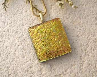 Golden Necklace, Dichroic Pendant, Dichroic Fused Glass Jewelry, Gold Dichroic Necklace, Dichroic Jewelry, Gold Necklace- Lemon 050515p101