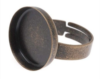 Antiqued Brass 19mm Round Bezel Adjustable Ring Qty 9