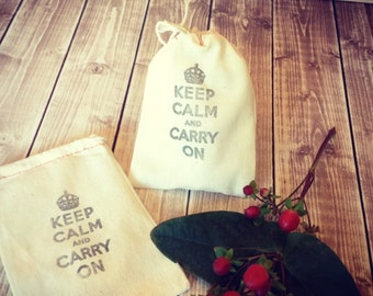 10 muslin drawstring bags Keep Calm and Carry On sacks