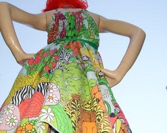 Jungle Animal Dress Mod Art Zoo Giraffe Elephant Hippo Leopard Gazelle OOAK 60s Vtg Fabric Zoo Mom Party Geek Resort Cruise Dress S-XL Adult
