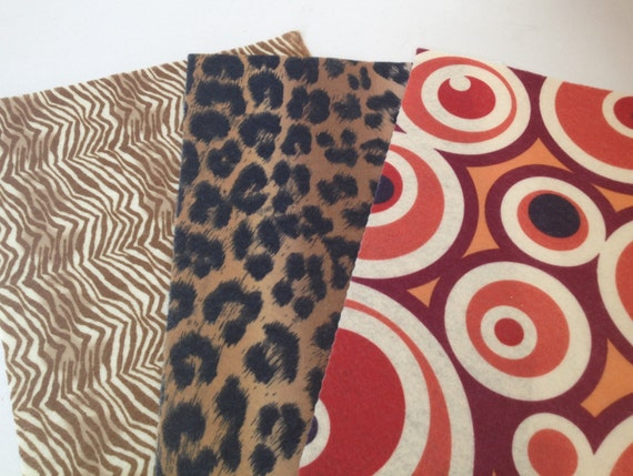 Printed felt fabric sheets 20 pieces recycled