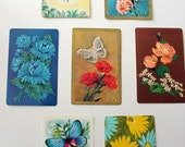 Seven Floral Butterfly Vintage Playing Cards