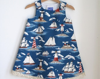 Sailboat & Lighthouse Toddler Girls Dress - Size 12 - 18 Months - Sailing Photo, Summer Yachting, Fourth of July, Beach Wedding Flower Girl