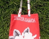 Market Bag in Red Cotton with Samoan Floral Design