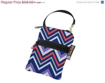 ON SALE Cell Phone Bag Small Crossbody Bag iPhone Shoulder Purse Cross Body Purse - Short Zip Cell Phone Bag - Fast Shipping Chevron Fabric