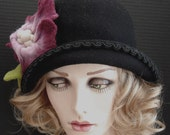 Black Wool Felt Cloche With Large Felted Flower On Sale
