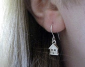 RESERVED. Single Tiny House Dangly Earrinf and Single Oxidized Texture Bubble Dangle.