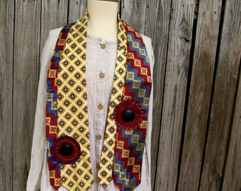 Qiana - Geoffrey Beene Necktie Scarves Upcycled into Art Scarf- Canary Yellow and Jewel Colors, Tie #5