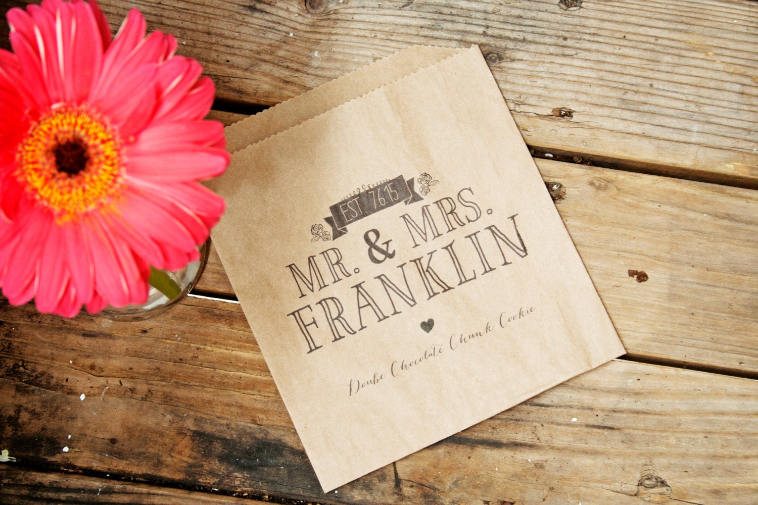 Wedding Favor Cookie Bag Cookie Treat Bag Mr and Mrs by mavora