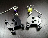 East Carolina University Pirates Purple Yellow and Black Skull and Crossbones Dangle Earrings