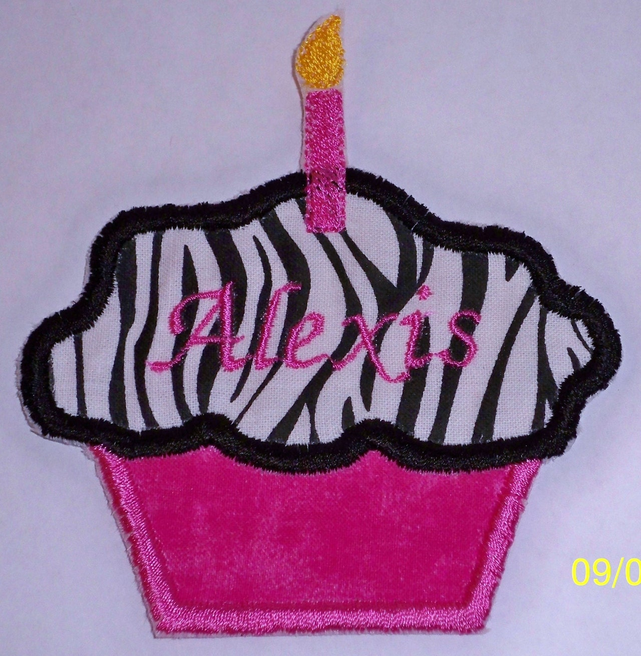 Birthday Cupcake Iron On Or Sew On Applique Patch Hot Pink And