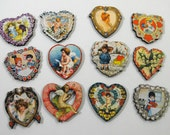 Wood Valentine Hearts - Collection of 12 Laser Cut Wooden Pieces