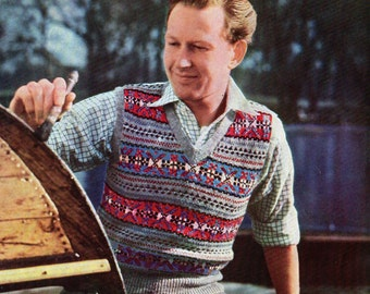 Mens Fair Isle Sleeveless Slip-over Sweater 1950s Vintage Knitting Pattern pdf Instant Download