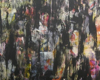 RAKU large scale abstract expressionism painting on canvas