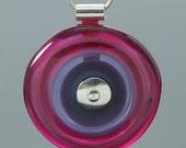 Glass Circle Necklace in Fuchsia, Lavender, and Dark Purple