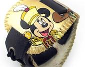 Leather Cuff Bracelet with Disney Character Baseball, Eco Friendly Reclaimed Leather Wristband Unisex Sports Fan OOAK
