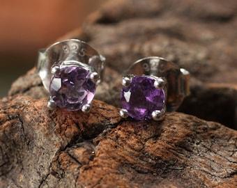 Sterling silver post earrings with purple amethyst