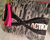 RESERVED Black/White/ Hot Pink Graphic Leather Bow Clutch