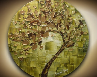 Art ORIGINAL Abstract Landscape Tree Painting Texture Art Modern Palette Knife Ombre Gold Olive Green Painting Wall Decor by Susanna