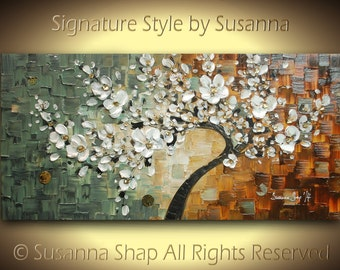 ORIGINAL Tree Painting - Large Textured White Cherry Blossom Tree Abstract Oil Painting Gallery Fine Art by Susanna Ready to Hang 48x24