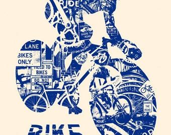 Bike Anatomy Navy Bicycle Ride Helmet Race Triathalon Silk Screen Art Print Poster - Etsy