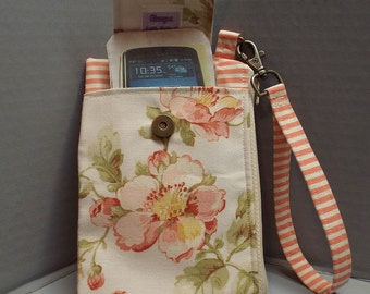 Womens Wristlet Wallet or Small Bag with Smart Phone Pocket Shabby Chic Wild Roses Fabric