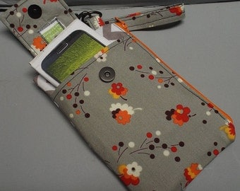 Womens Wristlet Wallet or Small Bag with Smart Phone Pocket Posies Fabric