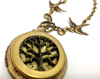 Tree of Life Locket with Sparrows , Steampunk Necklace, Steampunk Tree of Life, Steampunk Jewelry, Victorian,Tree of Life, One of a Kind