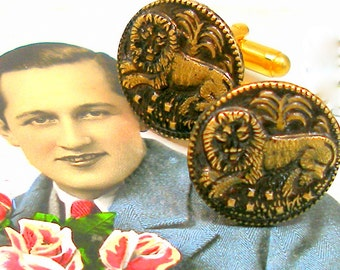 King of Beasts BUTTON cuff links, Edwardian LIONs on gold, Antique button jewelry jewellery.