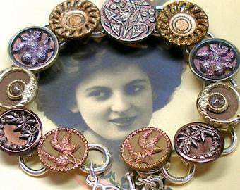 Antique BUTTERFLY BUTTON bracelet, Victorian insect & flowers, Antique button jewellery, jewellery.