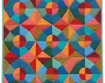 PDF Quilt Pattern - Circles and Stars English Paper Pieced Quilt Pattern - EPP Quilt Pattern - Modern Quilt Pattern - PDF File