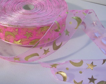 "Organza Ribbon (R49) Pink and Gold Moon and Stars 1"" Wide ONE Yard Ribbon for Crafts DIY  Weddings Wands Streamers Decor Wizard Celestial"