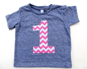 Biggie Number 1st Birthday Shirt for Boy or Girl one Chevron Number Birthday T Shirt  triblend grey Birthday Shirt