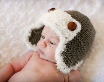 The Aviator Hat - Knitting PATTERN - pdf format for newborn, infant, toddler, child, teen and adult