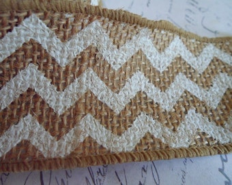 White Wired Chevron Printed Burlap Ribbon 2.0 inches wide