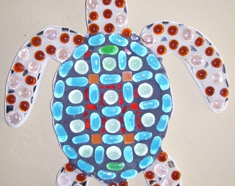 Turtle sea life ocean life mosaic wall art