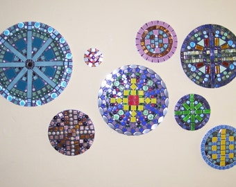 circles, wall art, mosaic, multi-colored, eight pieces, mixed media