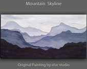 Original abstract mountain art Black and White Large Oil painting on gallery wrap canvas Ready to hang by tim Lam 48x24