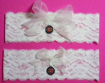 Chicago Cubs Wedding Garter Set    White Lace Handmade    with Chicago Cubs charm