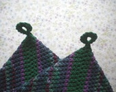 Green and Purple Grapevine  Crocheted Cotton 2 Layer  Potholders