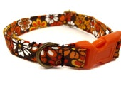 Hippie Chick - Organic Cotton CAT Collar Breakaway Safety Brown Floral Bohemian- All Antique Brass Hardware
