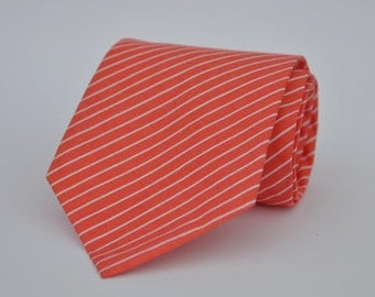 Boys Necktie Coral and White Pinstriped Tie