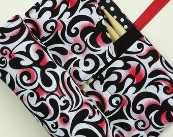 double pointed knitting needle case - organizer  - crochet hook - organizer - 28 pockets - red, white and black