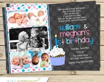 Twin Girl 1st Birthday Invitation Pink and Purple First