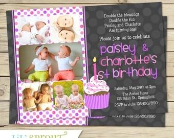 Twin Girl 1st Birthday Invitation - You Print