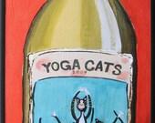 Yoga Cat Chardonnay - Wine Art - Cat Art - Yoga Art - Framed Canvas Art Print -  6 x 16 inches - Gift for Cat Lover - Yoga Gift