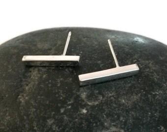 Minimalist sterling silver bar earrings